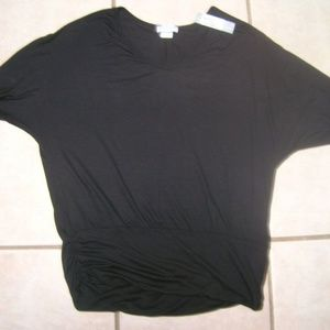 NWT JOSEPH A BLACK BANDED/RUCHED TOP SIZE MP